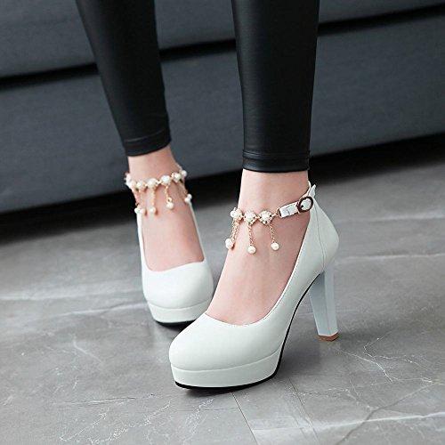 Mee Shoes Damen mit Absatz Quasten Plateau Pumps Weiß