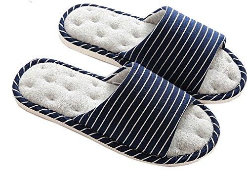 Couple Maison Bottom Soft d'intérieur Chaussons Plancher Femmes Mousse Mémoire Blue Hiver Bois Hommes Automne Chaud Maison Coton Navy 5wtP5rUEq