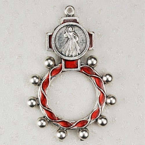 1 X High Quality Red Divine Mercy Rosary Ring