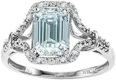Star K 8x6mm Emerald Cut Genuine Aquamarine Ring 14kt Gold
