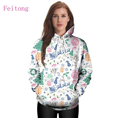Christmas Hoodies Sweatshirt,ZYooh Women Long Sleeve 3D Graphic Printed Hooded Sweatshirt Pullover Baseball Coats Sweats (L, white) by iLH®