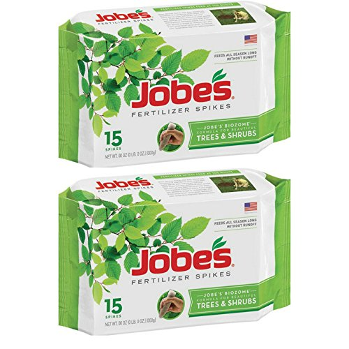 (Jobe's Tree Fertilizer Spikes, 16-4-4 Time Release Fertilizer for All Shrubs & Trees, 15 Spikes per Package - 2)