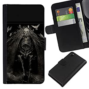 NEECELL GIFT forCITY // Billetera de cuero Caso Cubierta de protección Carcasa / Leather Wallet Case for Sony Xperia Z3 D6603 // Evil Ghost Muerte Goth Nightmare
