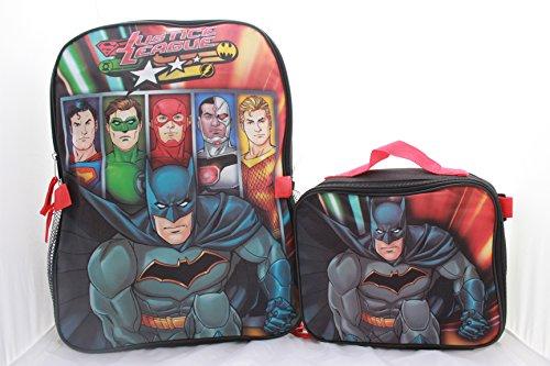 (Justice League Batman Superman Flash Boys School Backpack Bookbag Combo)