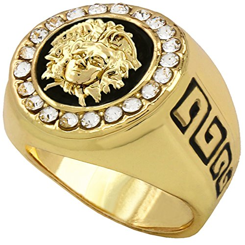 Mens Hip Hop Rings 14k Gold Plated Iced Medusa Face HEAD Cz Round Style Pinky Big Ring 7 8 9 10 11 12 (Gold Pinky Ring)