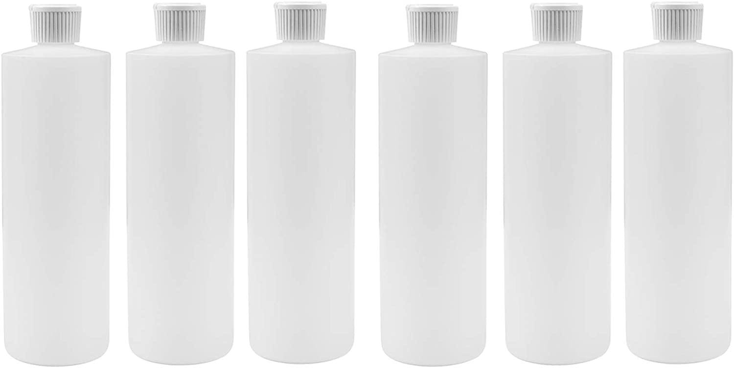 16 oz White HDPE Plastic Cylinder Bottles with Back Flip Top Caps Pack of 6