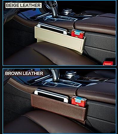 Leather Car Seat Crevice Storage Box Multi Purpose Auto Gap Organizers Beige