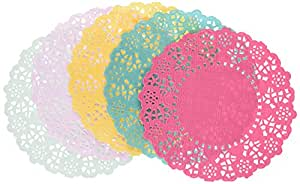 Talking Tables Floral Fiesta Disposable Doilies for a Tea Party, Birthday or Luau Party, 5 Colors (100 Pack)