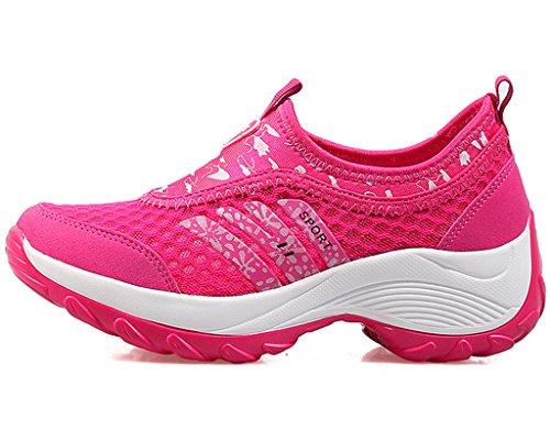 DADAWEN Womens Slip-On Platform Fitness Work Out Sneaker Rose Red IwkeLsnRu