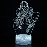 LED Superhero 3D Optical Illusion Smart 7 Colors Night Light Table Lamp with USB Power Cable (Spiderman)