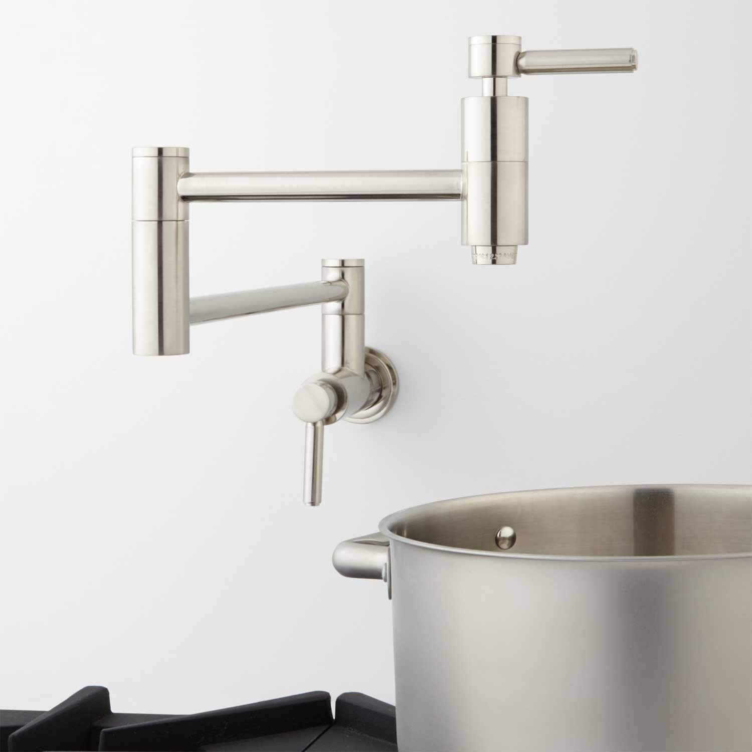 Signature Hardware 329627 Contemporary Double Handle Wall Mounted Pot Filler