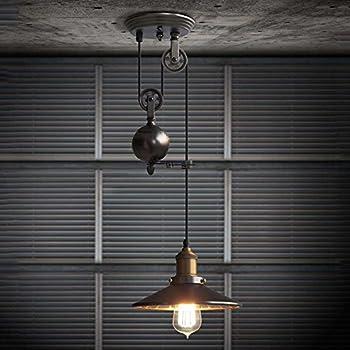 SUSUO Lighting 1 Light Industrial Edison Iron Retro Ceiling Pendant Light  Adjustable Black Wire Lamps Retractable
