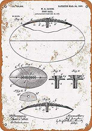 Joycenie Tin Sign Great Aluminum Metal Sign Football Patent Vintage Retro Wall Decor 12x8 Inch
