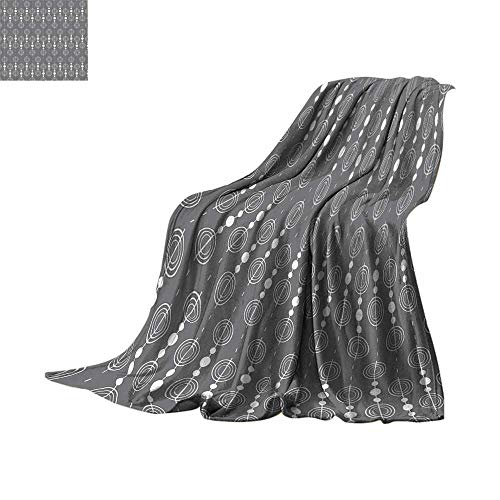 Custom homelife Throw Blanket Grey Decor Collection,Various Sized Geometric Circles Rounds Chained Spirals Retro Style in Mod Graphic Art Home,Gray White Plush Throw Blanket Bed or Couch 80