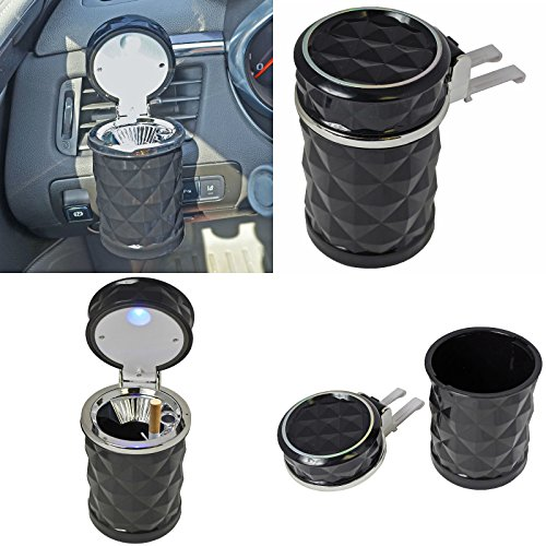 QualityKeylessPlus Led Automotive Cup Holder Ashtray Coin Holder Cigarette Auto Car Truck Rv (Black Diamond Beta Light)