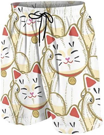 キッズ ビーチパンツ 開運招き猫 ラッキー アイテム 風水 猫 サーフパンツ 海パン 水着 海水パンツ ショートパンツ サーフトランクス スポーツパンツ ジュニア 半ズボン ファッション 人気 おしゃれ 子供 青少年 ボーイズ 水陸両用