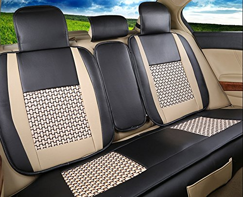 Amooca VTI Universal Front Rear Car Seat Cushion Cover Black/&Beige 10pcs Full Set Needlework PU leather MD-1157865