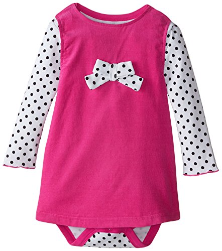 (BON BEBE Baby-Girls Infant Polka Dots and Bow Bodysuit and Corduroy Jumper Set, Multi, 24 Months)