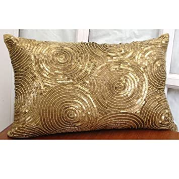 king pillow shams quilted size brown handmade gold spiral sequins antique sparkly glitter off white