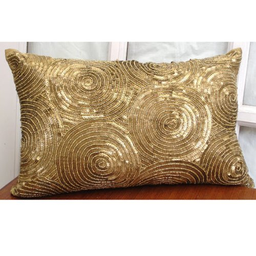 Gold Lumbar Pillow Cover, Spiral Sequins Antique Sparkly Gli