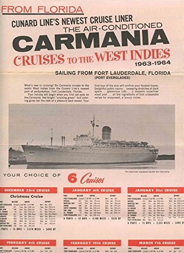 Cunard Line Carmania Cruises to West Indies From Fort Lauderdale Brochure 1963