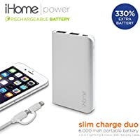 iHome - Slim Charge Duo: 6,000 mAh Slim Power Bank with 2in1 Charging Cable (Space Gray)