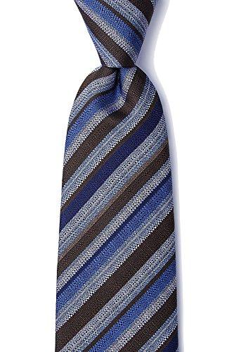 Men's 100% Silk Modern Carns Repp Stripe XL Extra Long Tie Necktie (Brown & Blue) ()