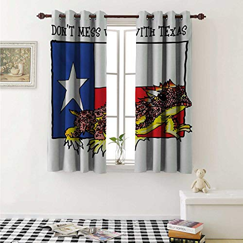 - shenglv Reptile Waterproof Window Curtain Illustration of Cute Warrior Horned Toad Standing for Texas City American Dream Curtains for Party Decoration W84 x L72 Inch Multicolor