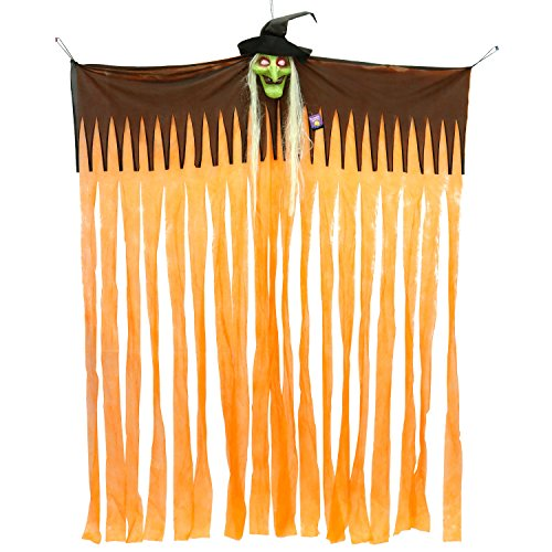 (Halloween Haunters Hanging Doorway Entryway Window Curtain with Witch and LED Light-Up Eyes Prop Decoration - 63