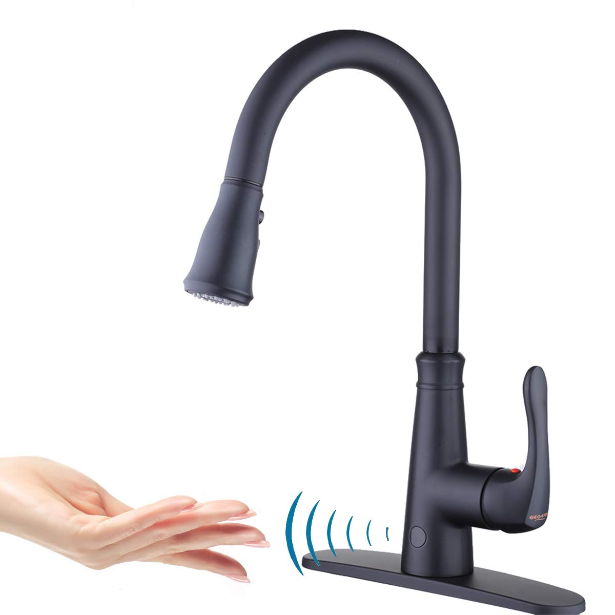 Touchless Kitchen Faucet with PullDown Sprayer,20 Single Kitchen Sink Faucets black Pull Out Sprayer,High Arc Pulldown Single Handle For Motion Sensor,1handle 3 Hole Deck Mount,black (Black) by GEOATON