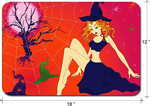 Liili Large Mouse Pad XL Extended Non-Slip Rubber Extra Large Gaming Mousepad, 3mm thick Desk Mat 18x12 Inch IMAGE ID 32883701 Elegant Halloween girl with green eyes among sinister cobwebs and spiders