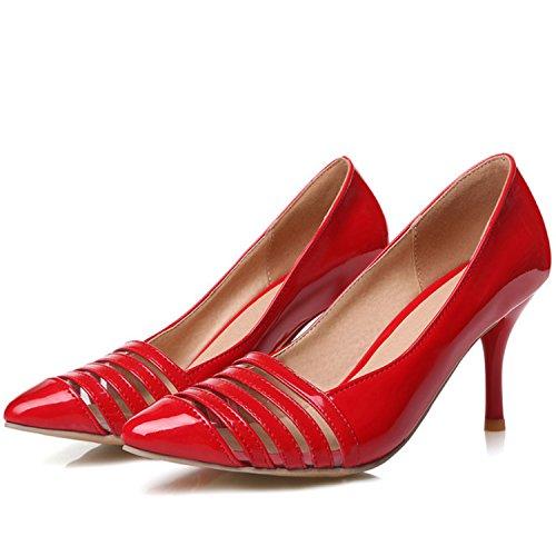 Azbro Mujer Zapatos de Estilete con Bomba Puntera Punta de Moda Rojo