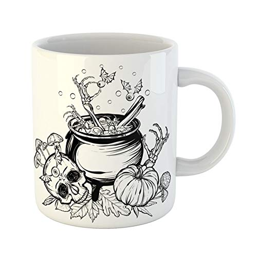 Emvency Coffee Tea Mug Gift 11 Ounces Funny Ceramic Halloween the Witch Cauldron Skull Leaves Pumpkin Mushrooms on White Tattoos Gifts For Family Friends Coworkers Boss Mug