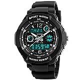 Takyae 2016 Fashion Casual Children Kid Boy Girl Digital LED Quartz Watches Alarm Date Sports Waterproof Wristwatch S Black
