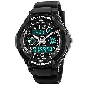 Takyae Kid Watch Digital LED Quartz Alarm Date Sport Waterproof Wristwatch For Child Boy Girl S Black