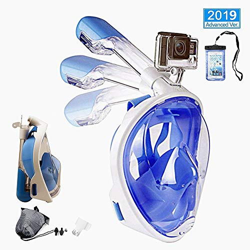 Snorkel Mask Full Face for Adults and Kids,2019 New Foldable Snorkeling Mask Full Face with Detachable Camera Mount & Earplug,180°Large View Easy Breath Dry Top Set Anti-Fog Anti-Leak (Blue, S/M)