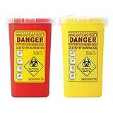 Homyl Pack of 2 Sharps Container Biohazard Needle Disposal Tattoo Waste Bin 1 Litre
