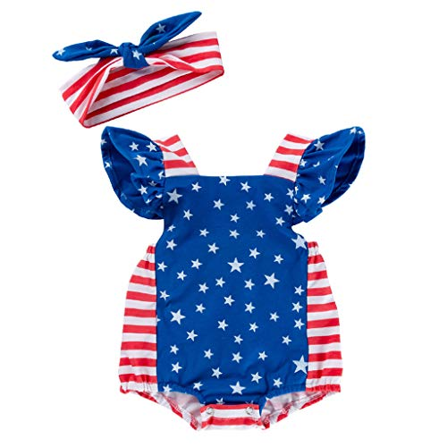 Eleviey 4th of July Infant Romper Jumpsuit Newborn Baby Girl Striped Stars Playsuit Outfit (Blue, 12-18M) ()