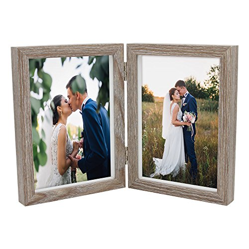 Afuly Double Picture Frame 5x7 Vertical Rustic Wooden Hinged Photo Frames Collage Folding Shadow Box Barn Family Christmas Gifts