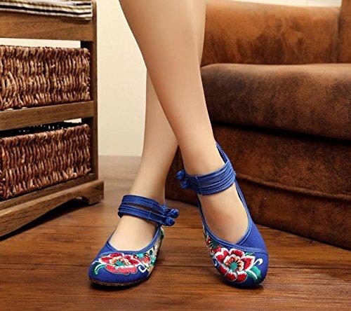 WXT Zapatos bordados, lenguado de tendón, estilo étnico, zapatos de tela femenina, moda, cómodo, zapatos de baile Blue