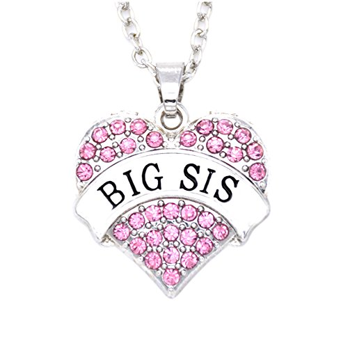O.RIYA Big Sister Necklace Crystal Heart Necklaces , Gift for Sisters Kids BFF Girls Ideas, Big Sister Little Sister Necklace (Christmas Outfits For Teens)