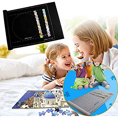 Puzzle Roll Storage Mat Jigroll Up to 1500 Pieces with Drawstring Storage Bag Kids Children 3 4 5 6 7 8-12 Year Old boy Girls Toys (Black): Toys & Games