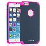 "Fosmon® Apple iPhone 6 Plus (5.5"") Case (HYBO-DUOC) Detachable Dual Layer Hybrid (Silicone + PC) Case Cover for Apple iPhone 6 Plus (5.5"") - Fosmon Retail Packaging (Pink/Navy Blue)"