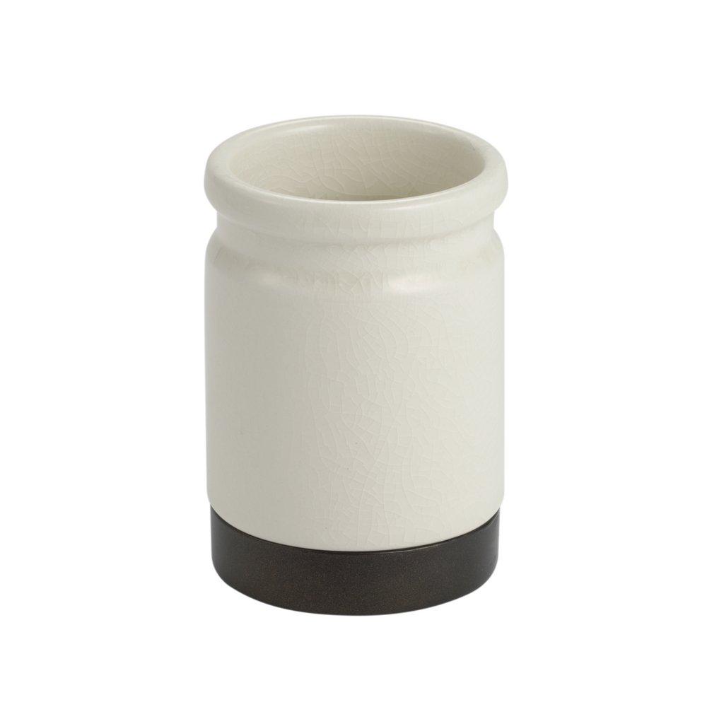 InterDesign Westport Ceramic Bar Soap Dish for Bathroom Vanities, Kitchen Sink, Cream/Bronze Inc. 25231