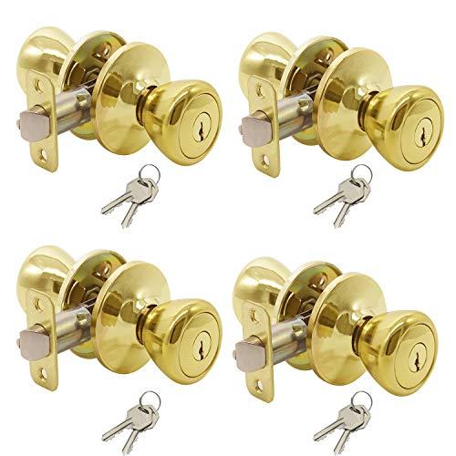 (Keyed Entry Door Lock Tulip Door Knob Handle in Polished Brass, 4 Pack,Keyed Alike)