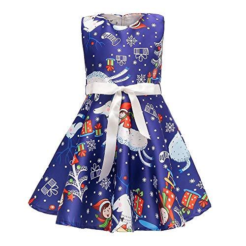 AYOMIS Girls Cotton Casual Sleeve Cartoon Stripe Dresses 2-9 Years(Xmas Navy-1,7-8Y) -