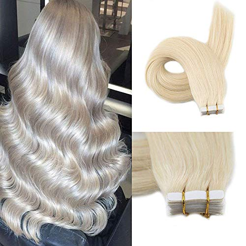 Fshine 20inch Tape in Extentions Blonde Color #60 Tape on Extensions Human Hair Colored Extensions 50g 20Pcs Per Package