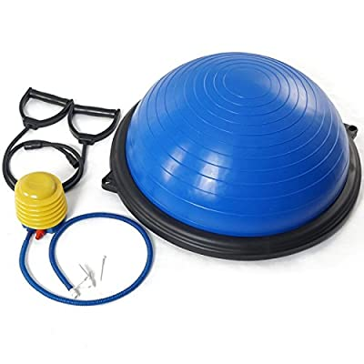 "23"" Yoga Ball Balance Trainer Yoga Fitness Pilates Strength Exercise Resistance Bands, New Blue W/ Air Pump by SurSector product"