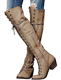 Women Knee High Boots Chunky Block Heel Retro Lace up...