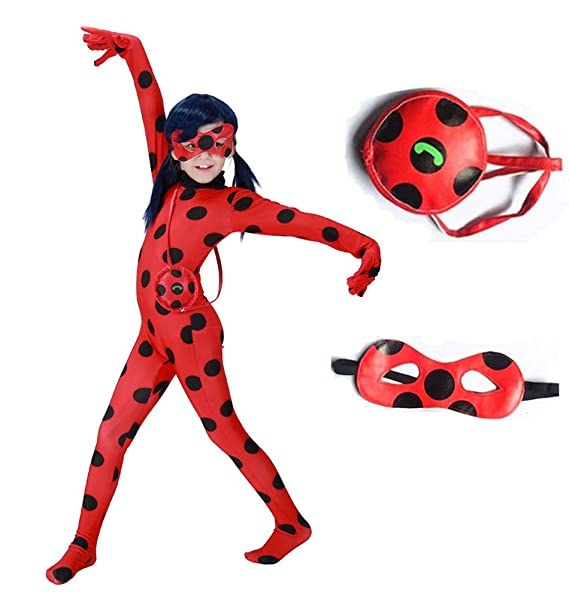 c95e8af8e Amazon.com: KINOMOTO Lady Bug Costume Girls Marinette Cosplay Jumpsuit:  Clothing